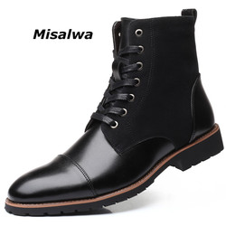 Misalwa Winter Men Snow Boots Warm Plush Plus Size 38-48 Men Boots Pointed Toe Winter Casual Leather Shoes Men Chelsea Boots