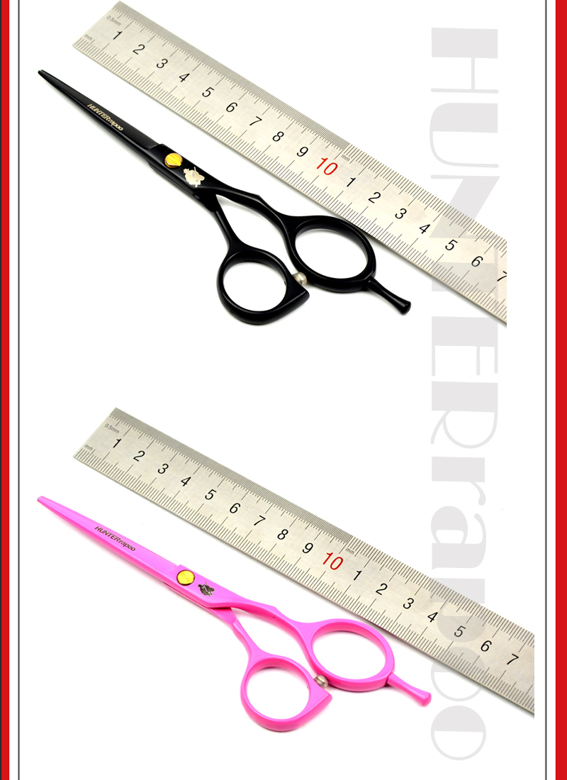 55 Pink Dan Hitam Ht9144 Rambut Cutting Gunting Shears Set Profesional Barber Hunterrapoo Untuk Hairdressing