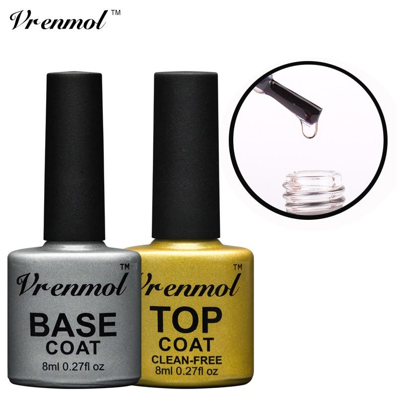 Vrenmol Transparent No Wipe Top Coat + Base Coat Foundation for UV/LED Gel Nail Polish Shiny Sealer Manicure Set Gel Varnish