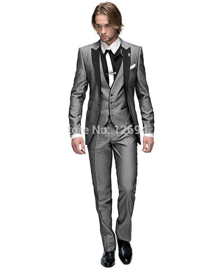 13a2f5b85 Moda un botón gris claro novio Esmoquin groomsmen hombres boda prom Trajes  novio (chaqueta + Pantalones + chaleco + TiE) k: 730