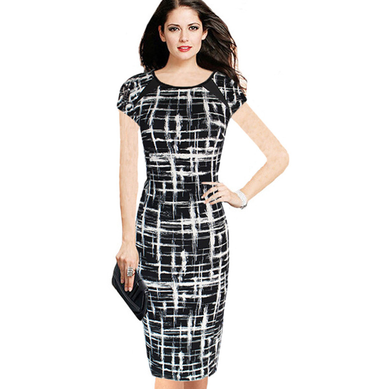 Excellent Hepburn Style Elegant Black And White Evening Dress Autumn Dress