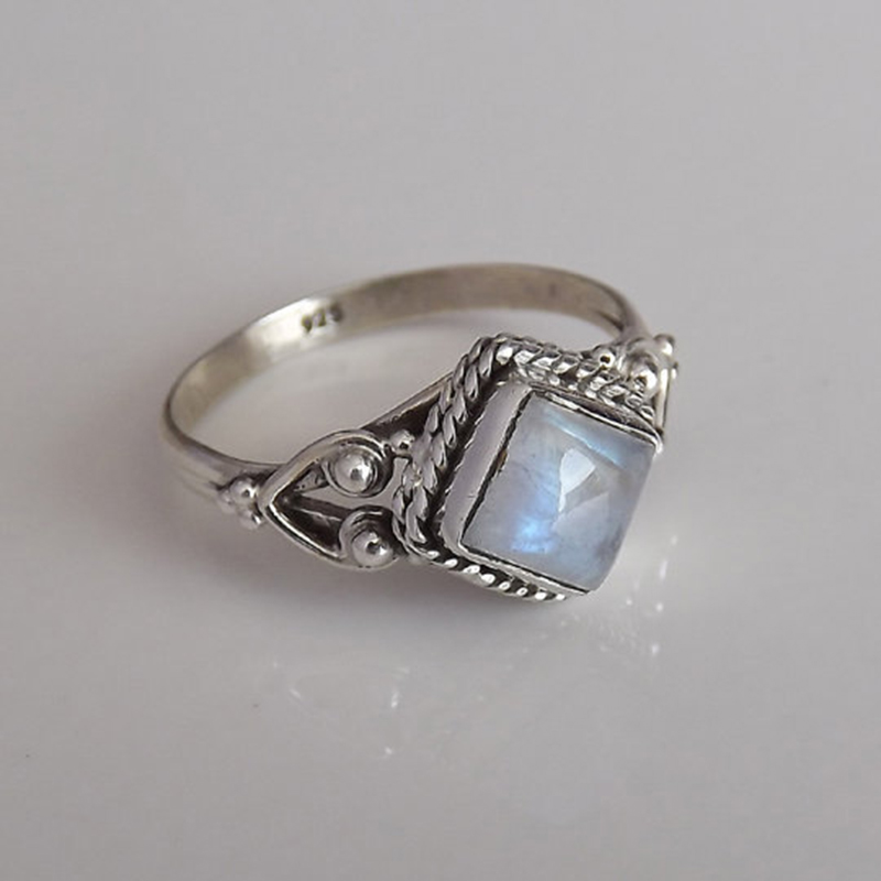 236c30980e8cd Charm Round Moonstone Silver Color Engagement Ring for Women White ...
