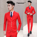 Chinese Collar Suit Tuxedo For Men 3 Piece Slim Fit Latest Design Groom Wedding Suits Terno Masculino Prom Suits With Pants