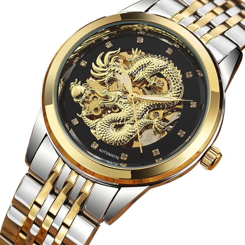 цена на LUXury Dragon Skeleton Automatic-Self-Wind Mechanical Watches Men Wrist Watch Stainless Steel Strap Gold relogio bayan kol saati