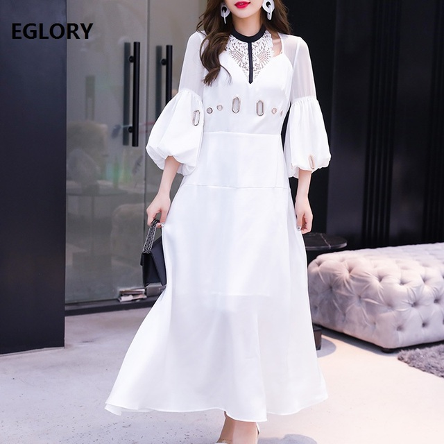 White Long Dress 2019 New Spring Summer Fashionable Women Hollow Out Lace Patchwork Lantern Sleeve Long Party Maxi Dress Festa