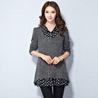 Plus Size Plus Size Female Mother Clothing 200 Faux Two Piece Mm Long Johns Shirt Long