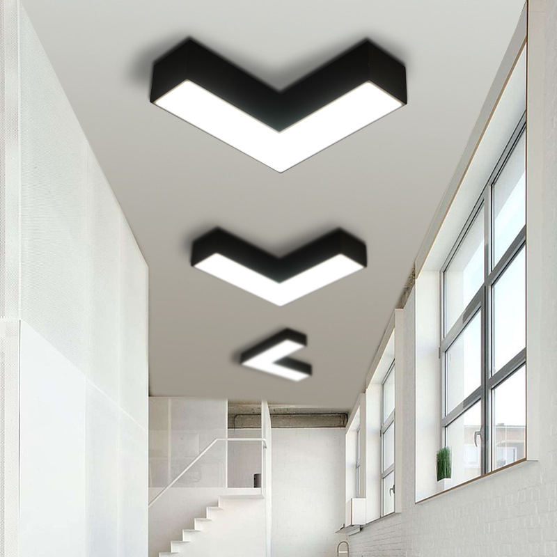 Modern Simple Creative Geometry Office Hotel Office ceiling light Corridor Aisle Led light Acrylic Black White канцелярские кнопки drawing pin creative office 136