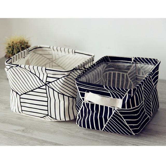 Desk Storage Box Holder Plaid Geometric Print
