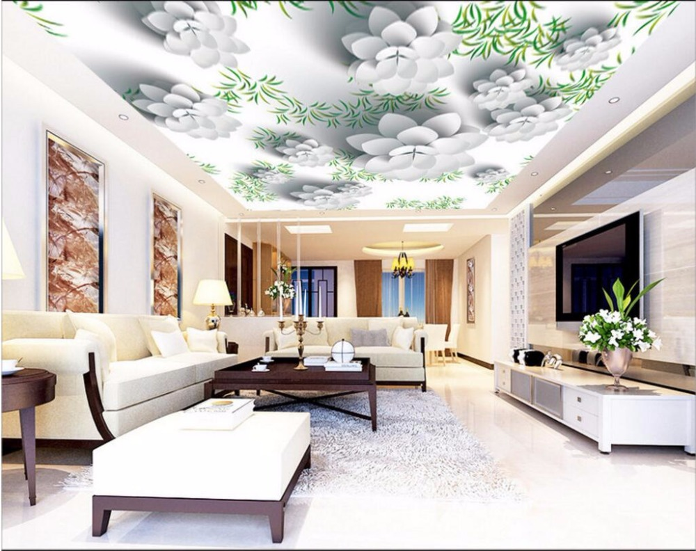 Custom photo 3d ceiling murals wallpaper Fresh grass white flowers decoration painting 3d wall murals wallpaper for living room 3d ceiling murals wallpaper aurora zenith living room ceiling mural custom photo murals wallpaper 3d ceiling