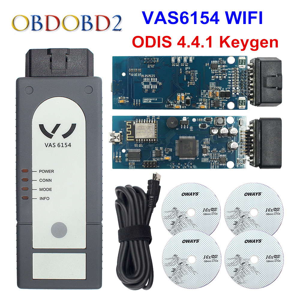 Newest Version WIFI/Bluetooth VAS6154 ODIS V4.4.1 Full Chip OKI VAS 6145 Diagnostic Tool Better Than 5054A V4.33 Support UDS perfect vas 5054a with oki full chip amb2300 bluetooth adapter support uds obd2 car diagnostic detector tool dhl free