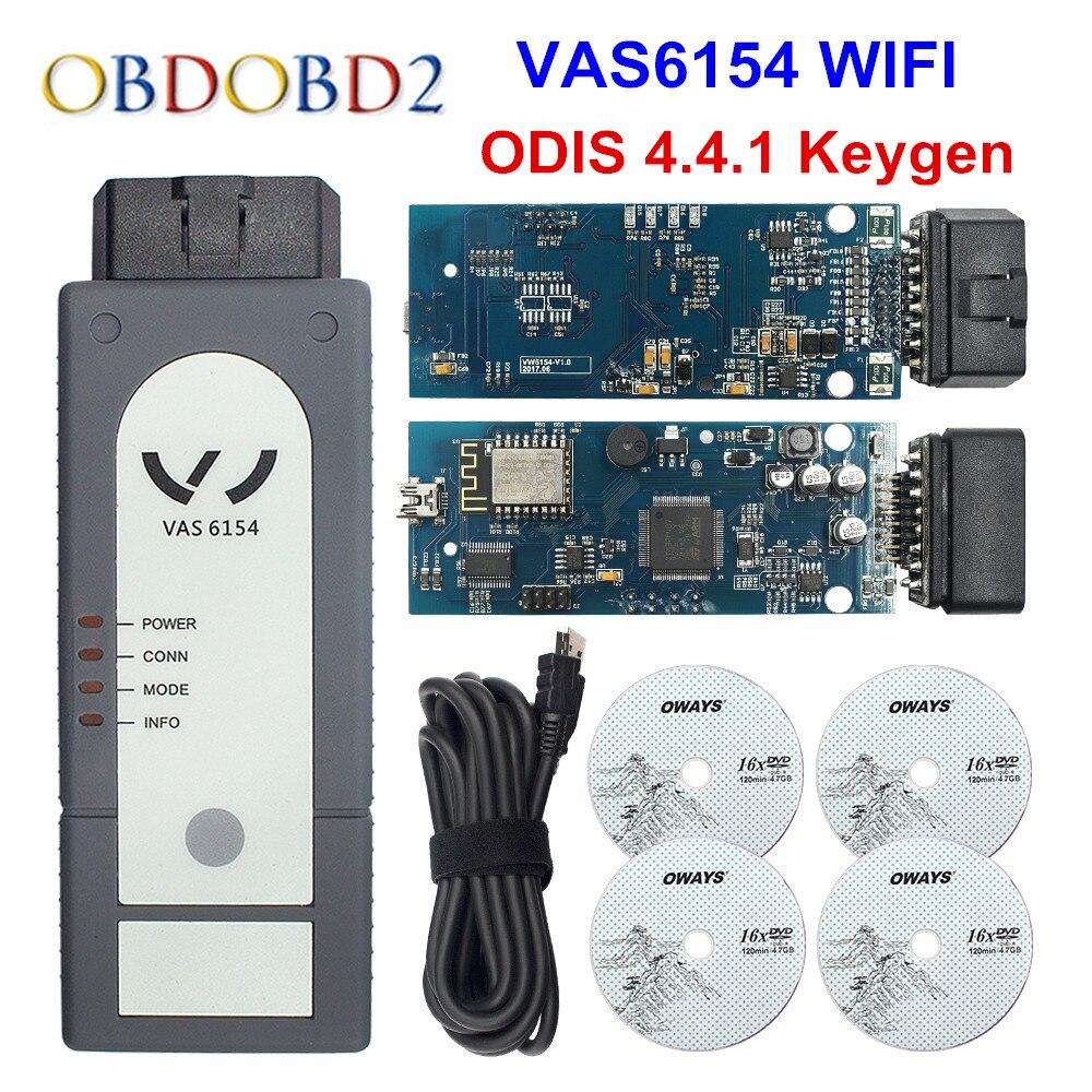 Nueva versión WIFI/Bluetooth/VAS6154 ODIS V4.4.1 Chip completo OKI VAS 6145 herramienta de diagnóstico mejor que 5054A V4.33 apoyo UDS