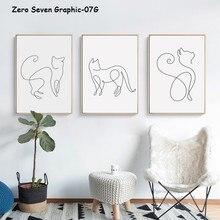 Abstrakte Linie Katze Leinwand Kunst Malerei Print Poster Bild Wand Wohnzimmer Schlafzimmer Dekoration