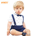 VICVIK brand Gentleman Babys Wear Romper Boys Summer Clothing One Piece Sets 2017 New Design Preppy Style Toddler Clothes D04X80