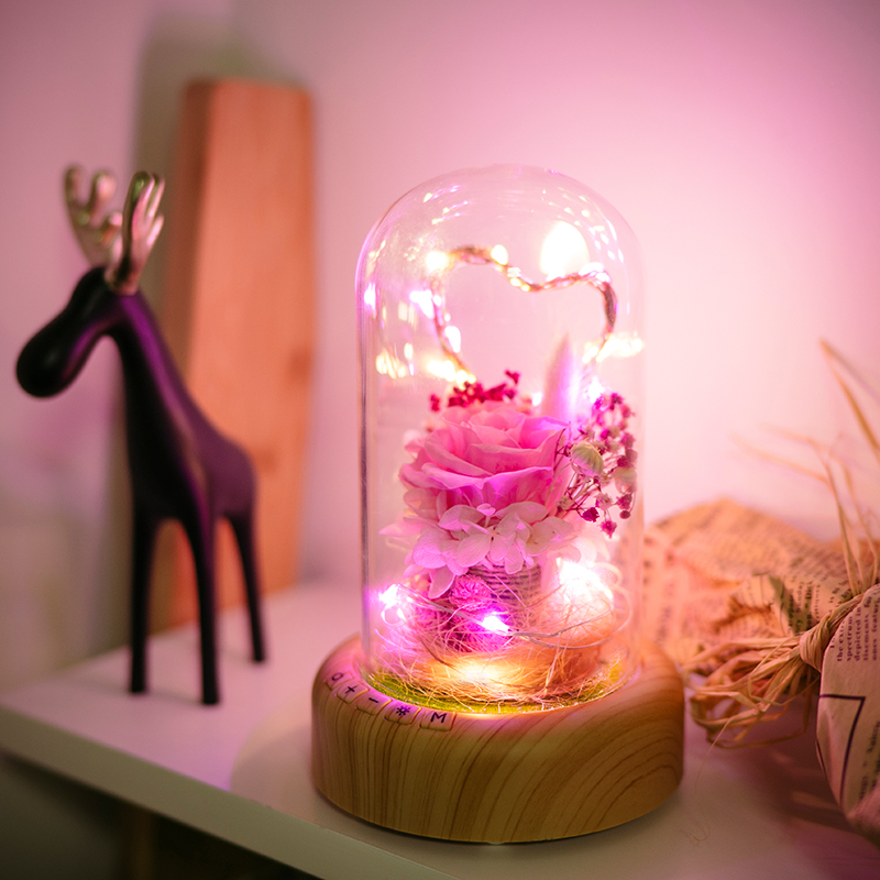 Creative Bluetooth audio led night lights, Bluetooth audio lights,Eternal flower vow vase birthday party Novelty lights
