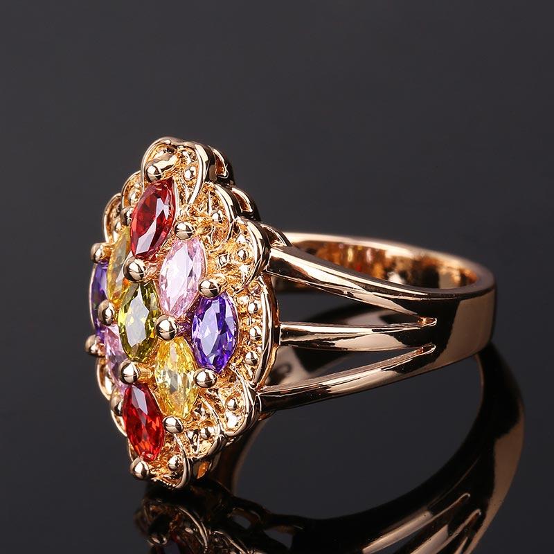 CWEEL Weeding Engagement Rings For Women Austrian Imitation Crystal Zircon Ring Rose Gold Color India Dubai Big Water Drop Rings (58)