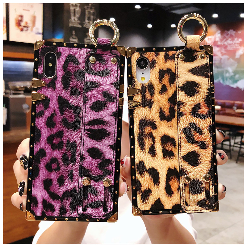 Luxury brand Square Leopard print rose flower case for iphone 7 8 6 6s plus girl women phone case for iphone X XS Max Xr cover (2)