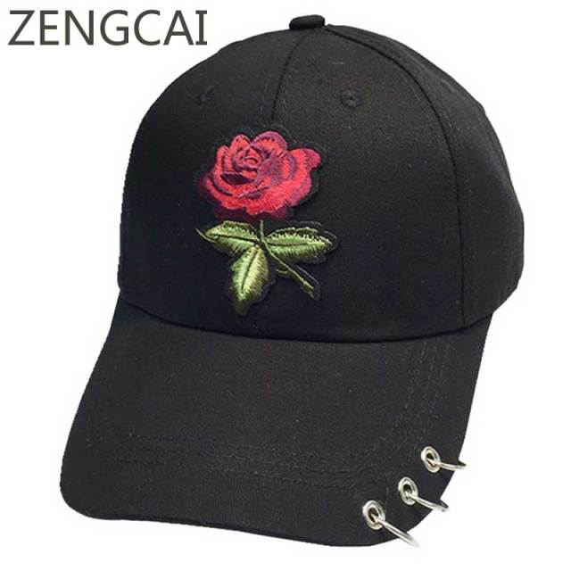 New Rose Dad Hat Women Summer Baseball Cap With Ring Floral Snapback Hip  Hop Caps Casual Cotton Adjustable Female Sun Visor Hats 54eb8afc4db
