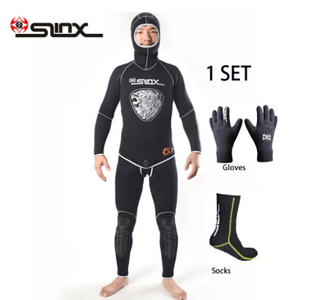 SLINX 5mm Neoprene Scuba Diving Spear Fishing Fishermen Snorkeling Wetsuit Winter Warm Two-Piece Suit with 3mm Gloves Socks Set slinx discover 1106 5mm neoprene men wetsuit swimming snorkeling spear fishing waterskiing fleece lining warm scuba diving suit