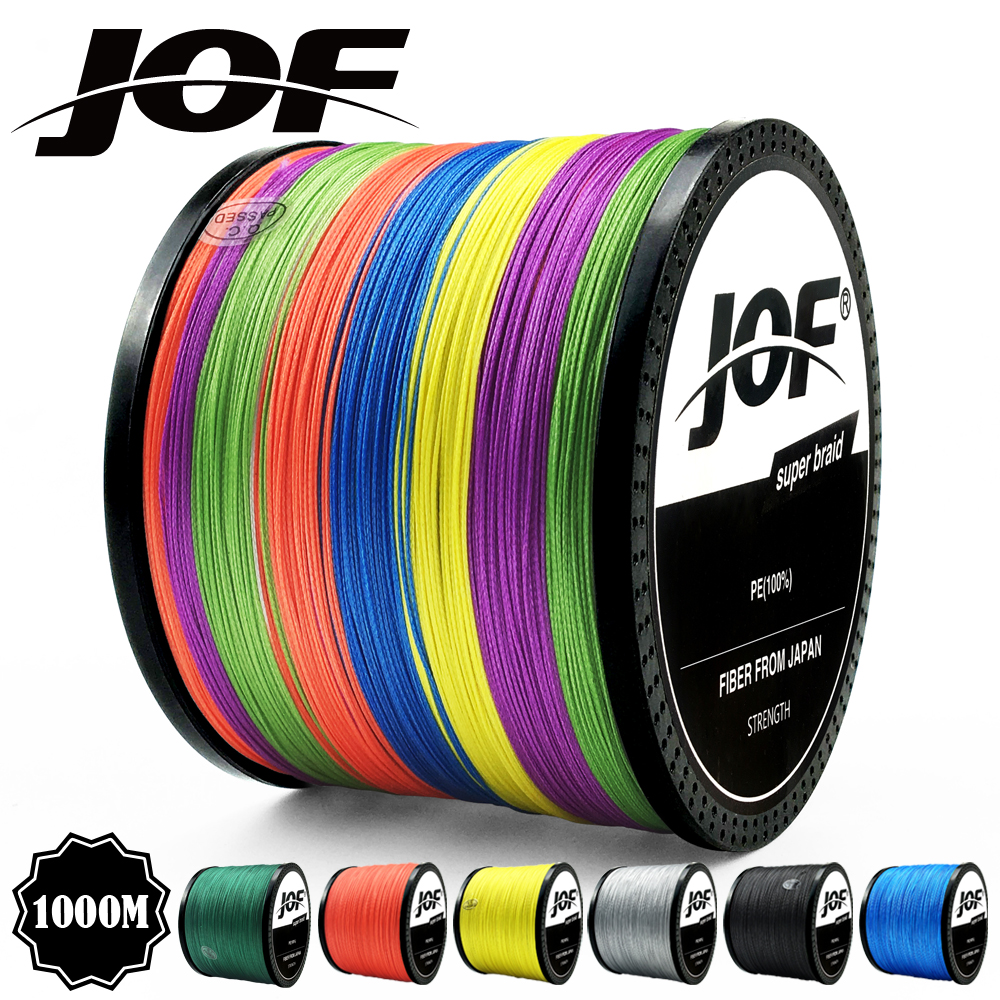 JOF 300M 500M 1000M 8 Strands 4 Strands 18-88LB PE Braided Wire Multifilament Super Strong JAPAN Multicolor title=