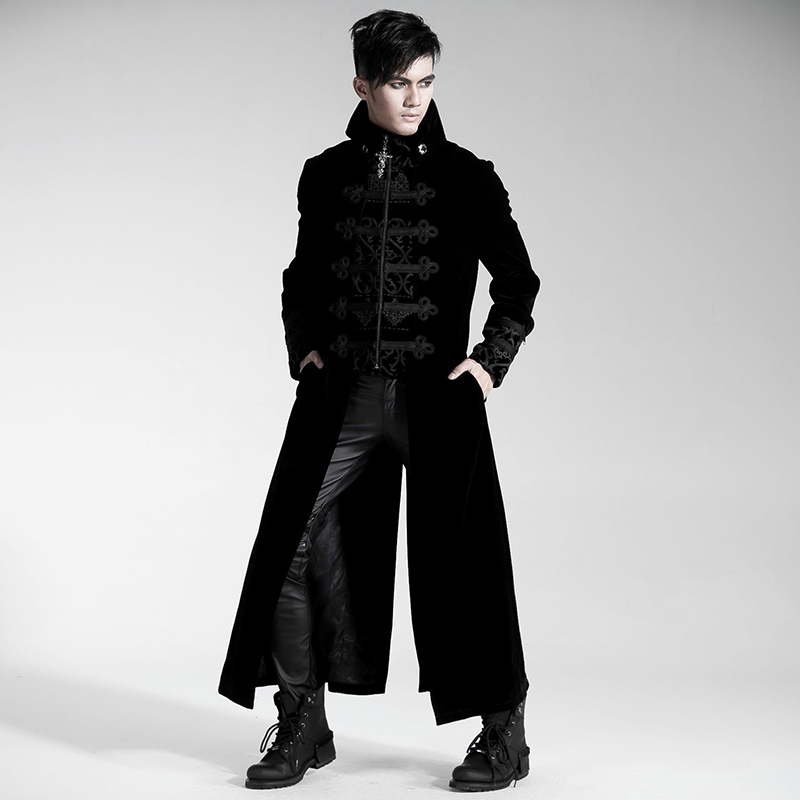 Gothic Fake Two-pieces Court Long Dress Coat for Men Steampunk Gorgeous Embossed Trench Coat Autumn Winter Velveteen Windbreaker