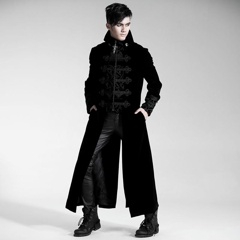 Gothique Faux Deux-pièces Cour Longue Robe Manteau pour Hommes Steampunk Magnifique Relief Tranchée Manteau Automne Hiver Velours Coupe-Vent