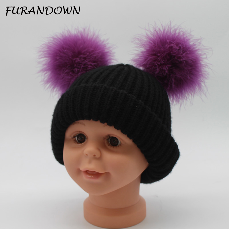 FURANDOWN Winter Warm Children Girls Hats Double Fur Pompoms Cute Caps Wool Knitted   Skullies     Beanies   For kids baby