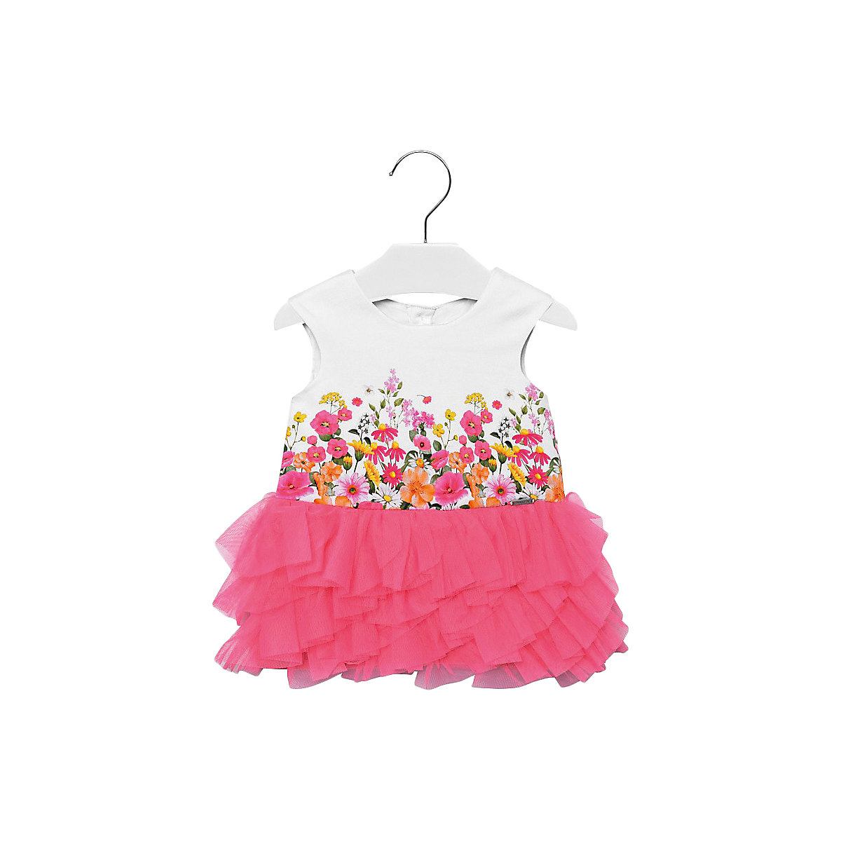 Фото - MAYORAL Dresses 10687183 Girl Children fitted pleated skirt Pink Cotton Casual Floral Knee-Length Sleeveless Sleeve box pleated floral volume skirt