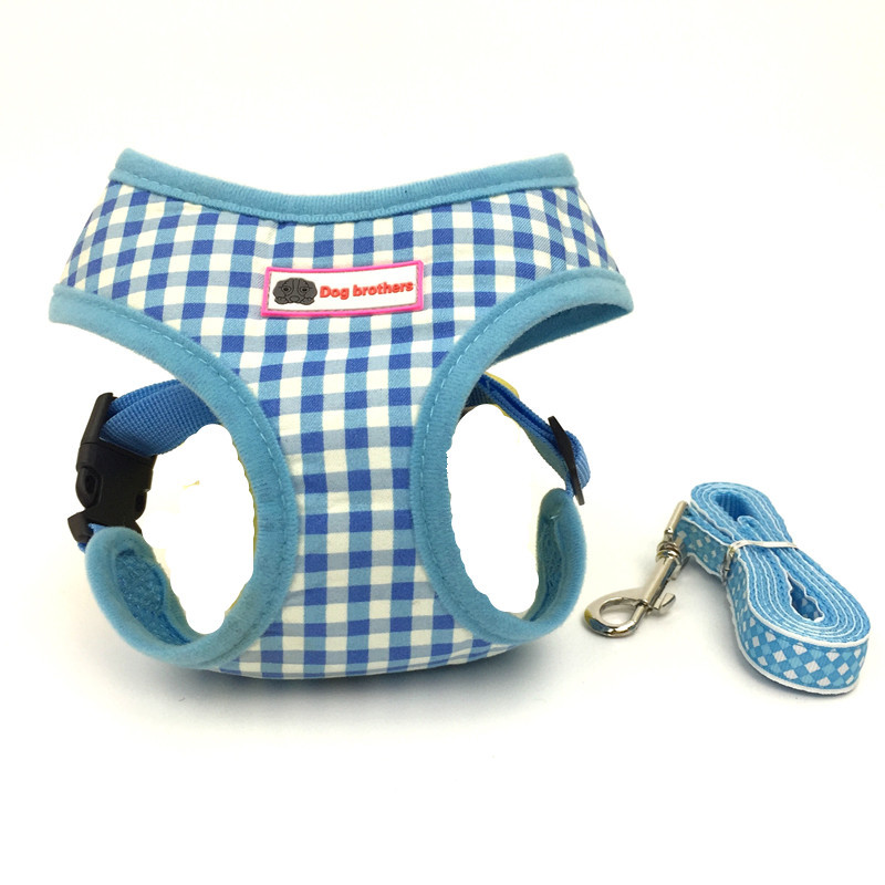 Multi Color Plaids Small Dog Harness And Leash Set For