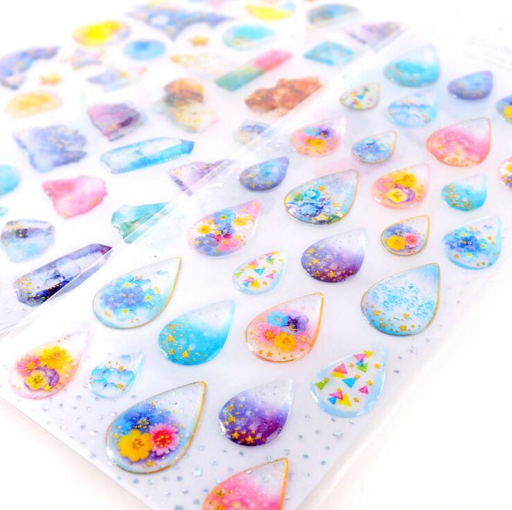 Dazzling 3D Gemstone Waterdrop Various Designs Decorative Stickers Diary Sticker Scrapbook Decoration PVC Stationery Stickers