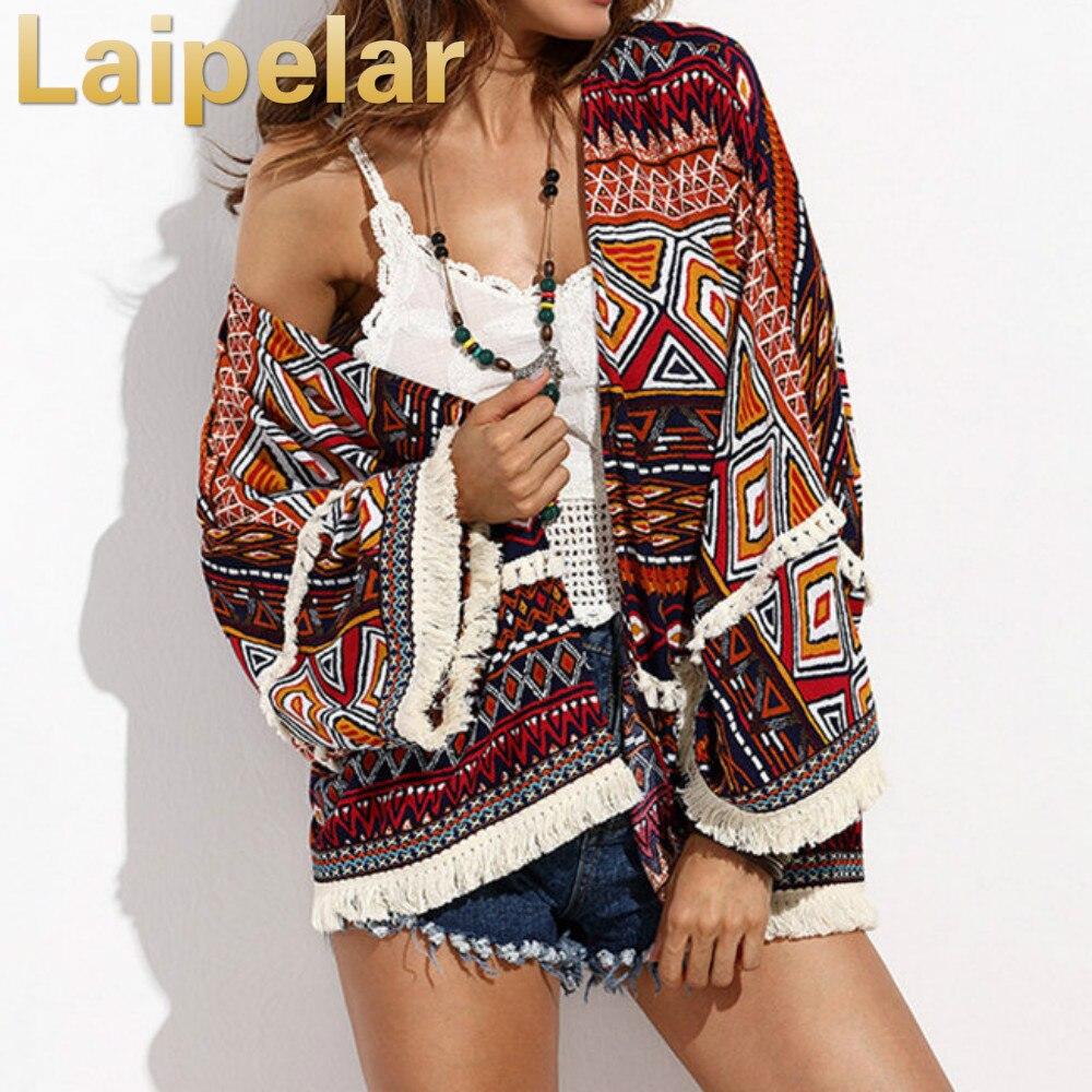 Laipelar Повседневное Женские топы для летние женские с длинным рукавом кимоно кардиган многоцветный принт с бахромой Украшенные Cover Up