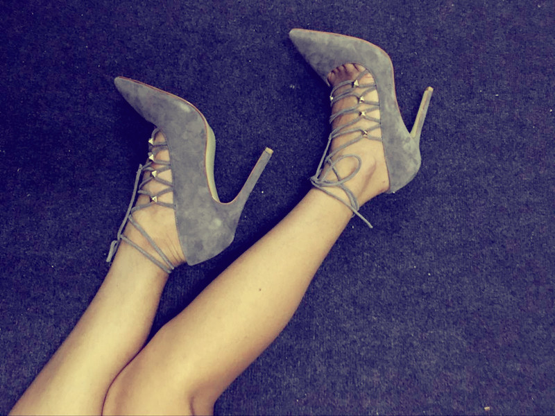 2017 Summer Suede Lace-Up Hollow Out Pumps Thin High Heels Pointed Toe Stiletto Sexy Females Sandals Fashion Dress Shoes denim zipper hollow worn stiletto womens sandals