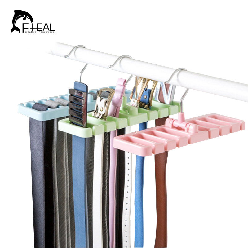 fheal creative 8 holes foldable belt tie storage rack