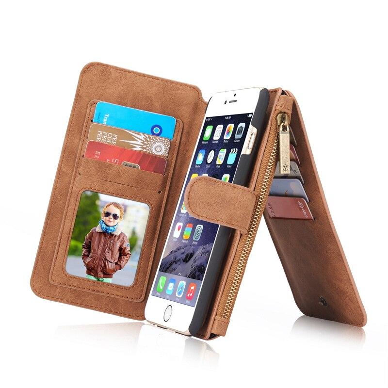 imágenes para Caso de lujo Para el iphone de Apple 6 Caso Monedero Más de Cuero Magnética cubierta Titular de la Tarjeta Para el iphone de Apple 6 S Caso Monedero Cubierta iPhone6
