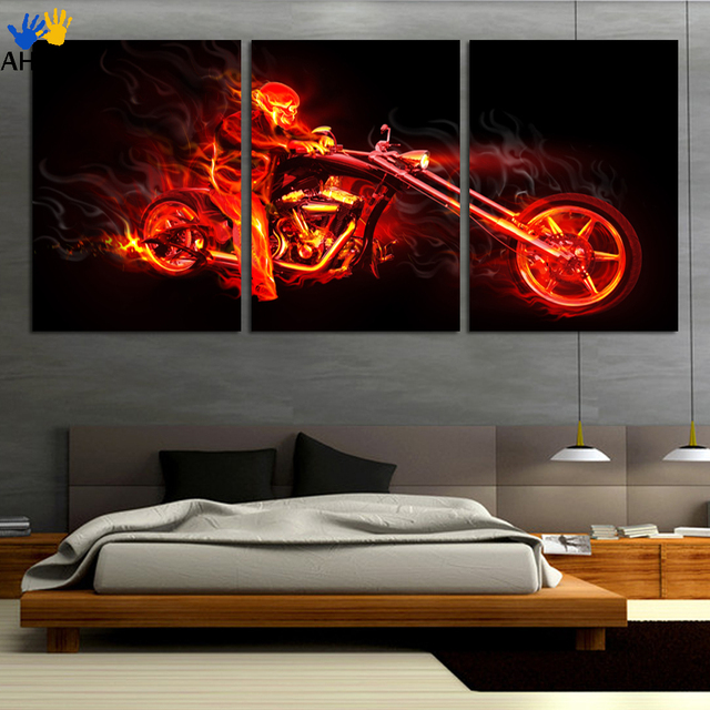Unframed Printed Fire Motorcycle Painting Children S Room Decor Print Abstract Poster Picture Canvas Decoration Free Shipping