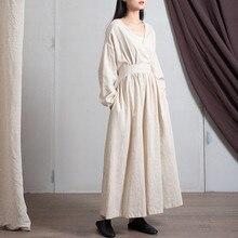 Johnature Mùa Xuân 2020 Vải Bông Mới Cổ Chữ V Rời Màu Trơn Dài Đầm Vintage 3 Màu Sắc Phong Cách Trung Hoa Nữ Áo