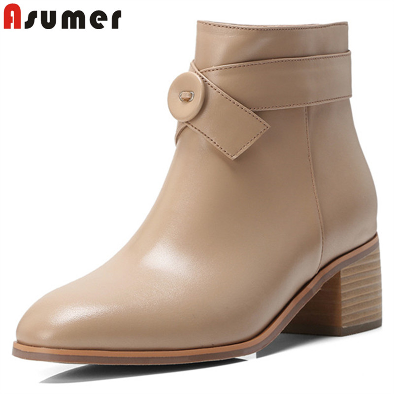 ASUMER black fashion ankle boots for women square toe zip genuine leather boots casual square high heels ladies boots luxury women s square middle heels point toe pumps ankle boots shoe pr1364 black grey genuine sheepskin leather female boots