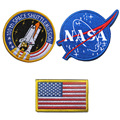 Embroidered NASA 100th Space Shuttlemission US Flag USA Military Morale Swat Patch Hook & Loop Army Gear Badges Fabric Stickers