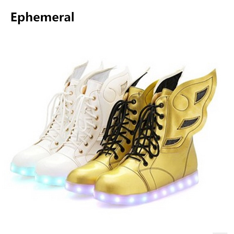 Ladies Plus size 34-46 12 Colors Lace-up Designer Led Board Shoes Light Up Luminous Zapatillas USB Charger High Top party Boots plus size light up cosplay party skirt