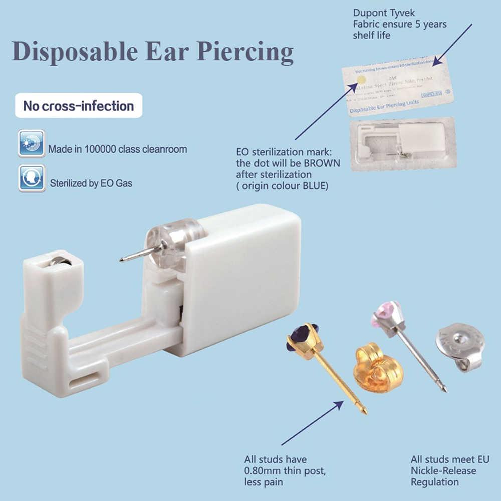 Одноразовые безопасные стерильные серьги-гвоздики для ушей, набор инструментов для пирсинга, набор инструментов для пирсинга, набор сережек, ювелирные изделия для пирсинга
