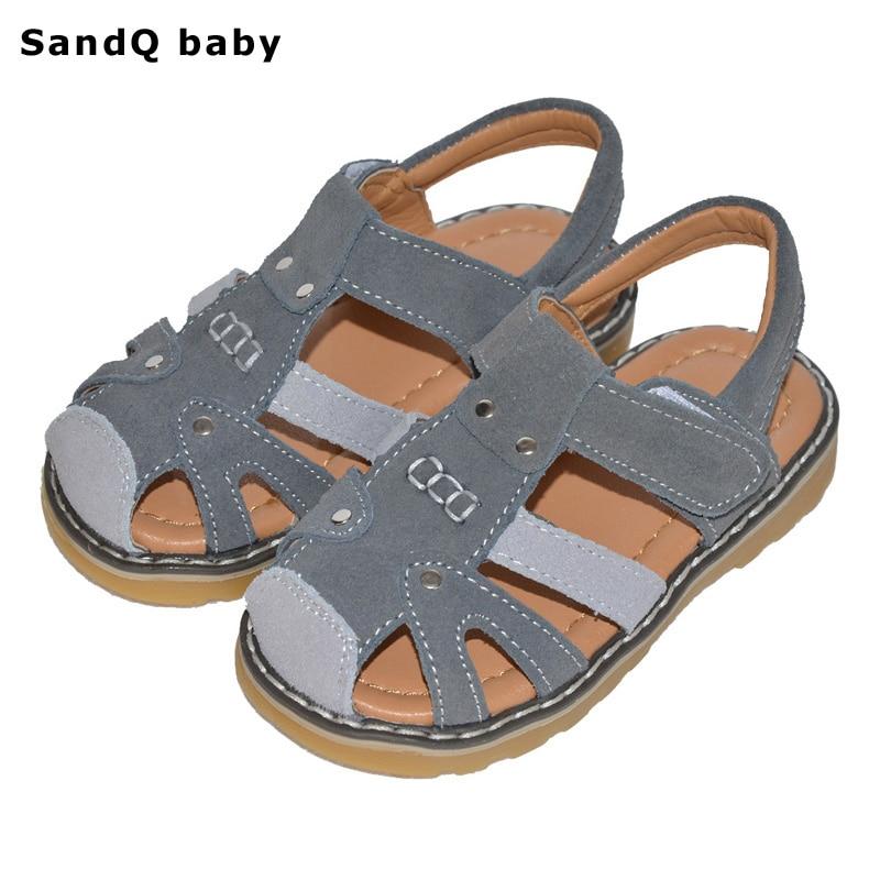 Poisid Sandaalid 2019 Uus suve Ehtne nahk Lapsed Rannad Sandaalid Libisemiskindlad seemisnahast lapsed Kingad