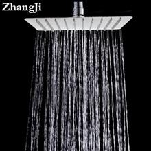 Zhangji 10 Inch Stainless Steel Ultra Thin Ceiling Rain Shower Square Big Bath Rainfall Nozzle Shower Bathroom Shower Head