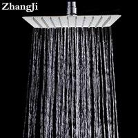 Zhangji 10 pulgadas ultra delgado techo de acero inoxidable cuadrado ducha de lluvia grande ducha de lluvia del baño ducha boquilla baño ZJ053