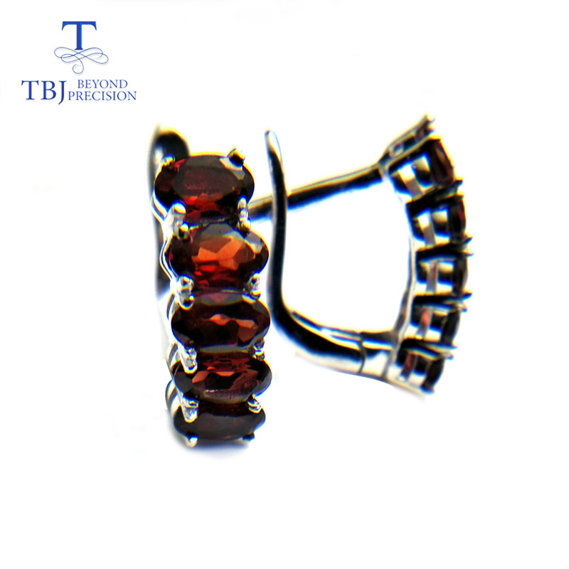TBJ,Cute Clasp earring with natural mozambique garnet gemstone earring in 925 sterling silver elegant design for women as gift