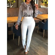 2019 Women Front Slit Pencil Pants Solid Color High Waist Elegant Office Ladies Tight Trousers Workwear
