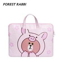 Forest Rabbi Brand Pink bear pattem waterproof Laptop Bags 12 13 13 3 14 15 16