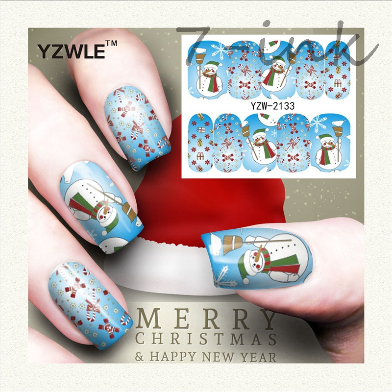 Water Transfer stickers for nail art 2133 merry Christmas snowman Bow tie Design Fingernails Decals Manicure Nail Wraps Decals