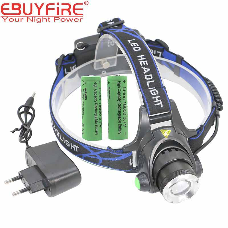 EBUYFIRE A9 Headlamp 18650 Rechargeable HeadLight Waterproof <font><b>T6</b></font> Zoom 3 mode <font><b>LED</b></font> Head Lights for hunting with Battery Charger