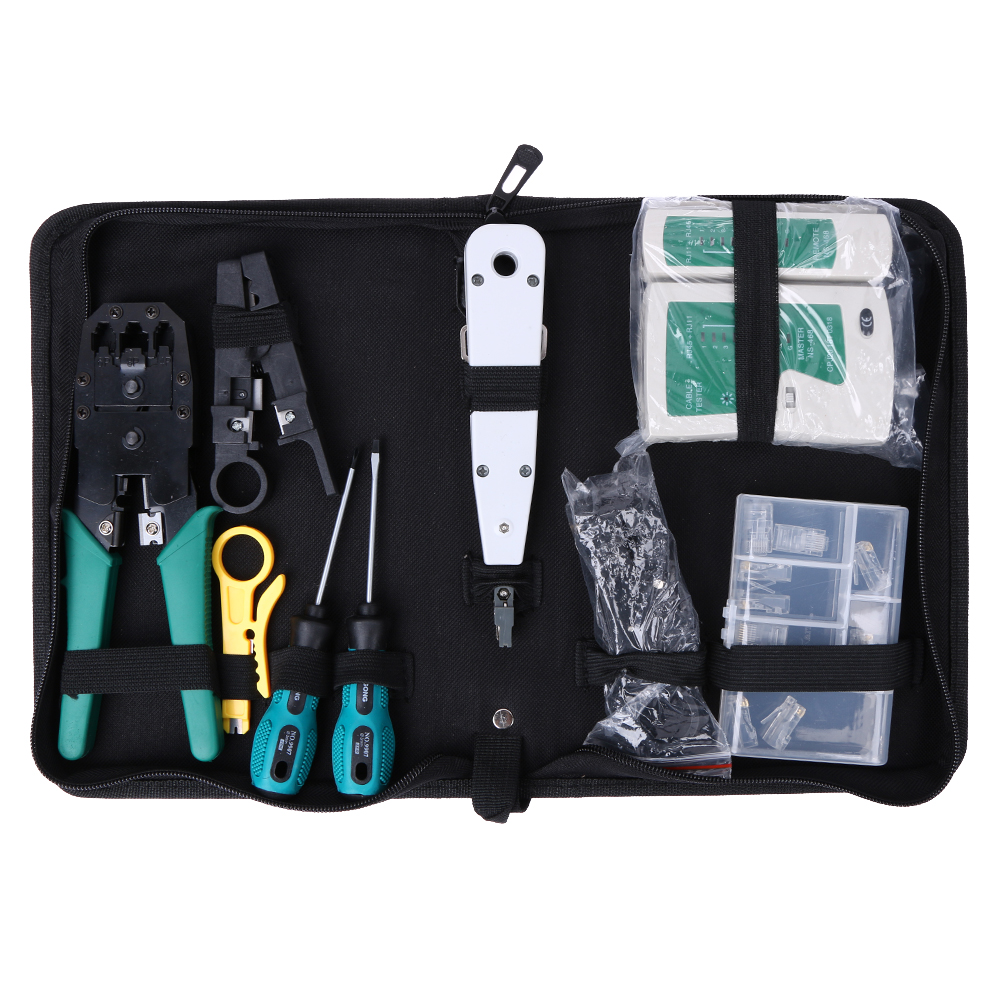 11 Pcs/Set Network Computer Maintenance Repair Tools Professional LAN Cable Tester Wire Cutter Screwdriver Pliers Crimping Tool  цены