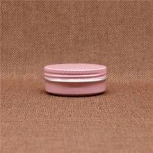 Rosa 30g Pequeño Tarro De Aluminio Recargable de Aceite Del Labio Batom Cosméticos Crema Para Los Ojos Cera Lata de Envases Vacíos de Tapón de Rosca