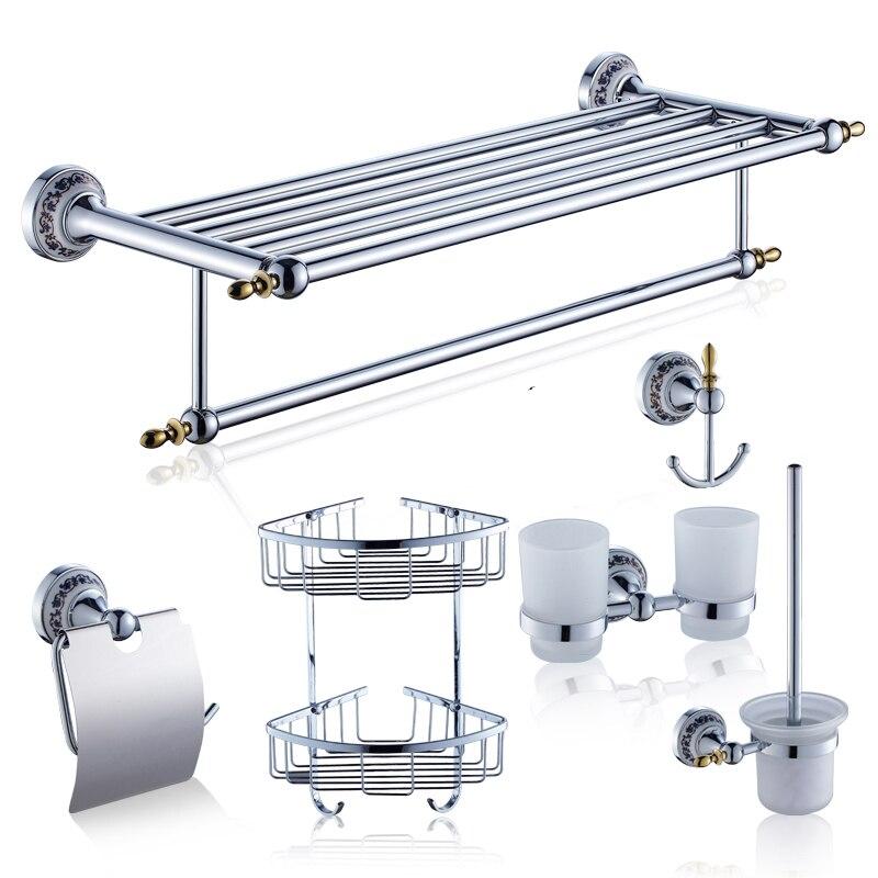 Античная chrome серебро Ванная комната Продукты Ванная комната оборудование комплект Керамика латунь Аксессуары для ванной комнаты Набор Туа